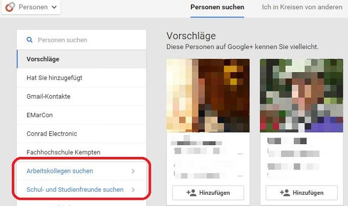 Arbeitskollegen und Schulkameraden mit Google Plus finden
