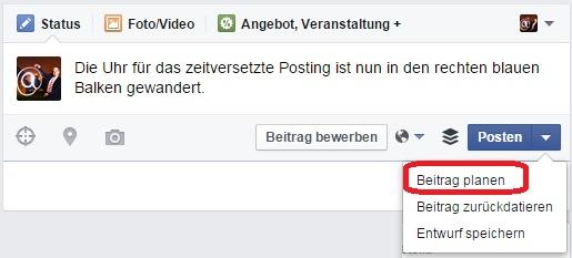 Zeitversetzt Posten auf Facebook neu mit Rückdatierung und Entwurfsfunkkion