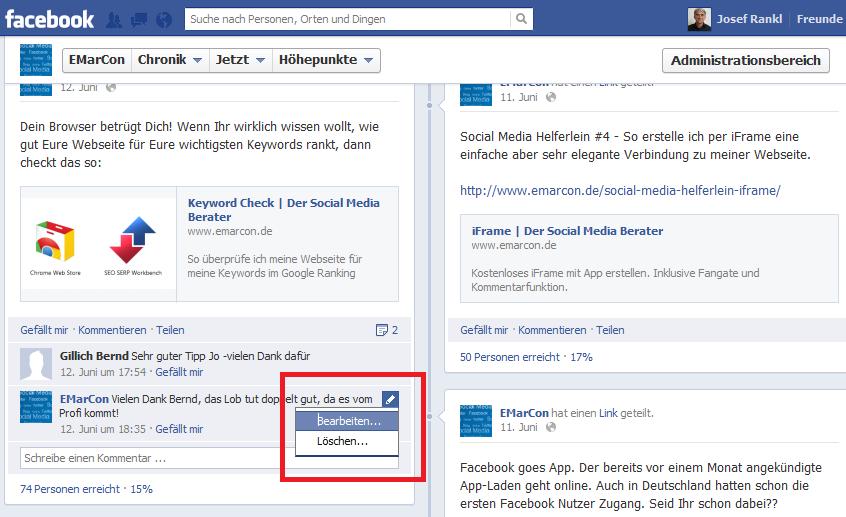 Nachträglich Facebook Kommentare korrigieren