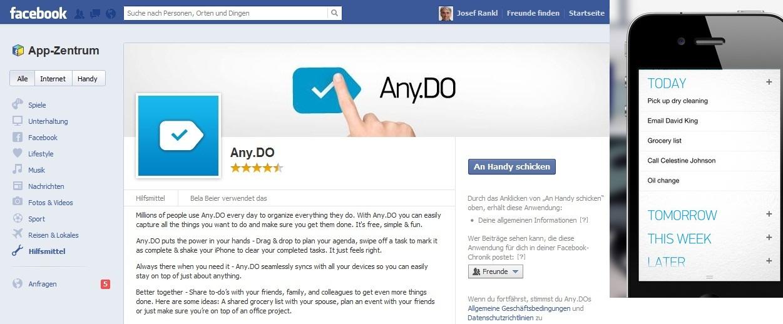Applikation zur Aufgabenverwaltung über Smartphone und Facebook