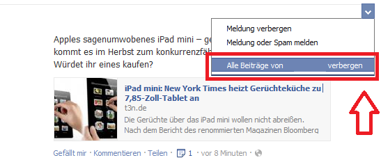 So können Facebook Meldungen und Nachrichten verborgen werden