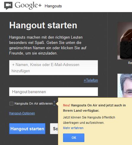 Google HangOut on Air starten