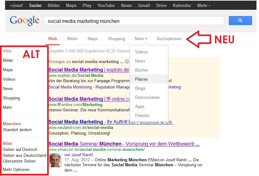 Google Suche Layout