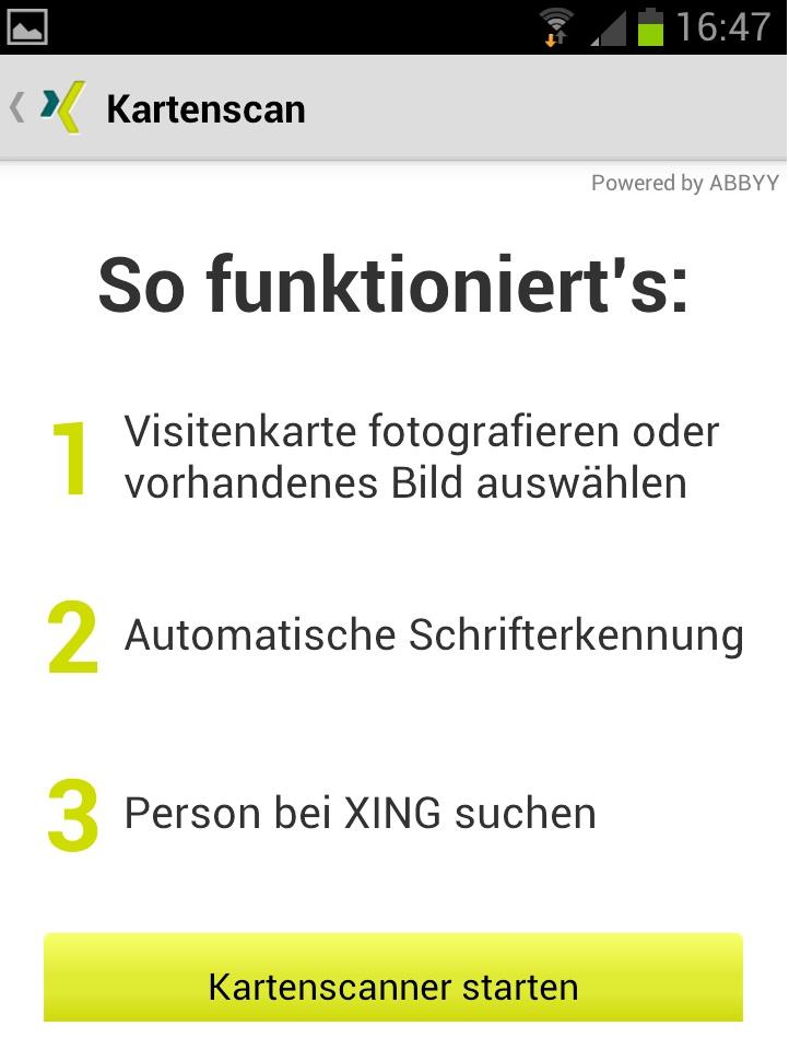 Xing Visitenkarten Scanner