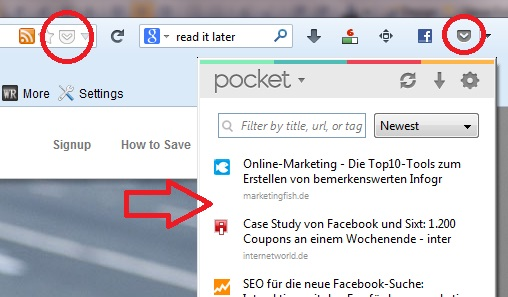 Pocket Online Notizbuch und Themenspeicher