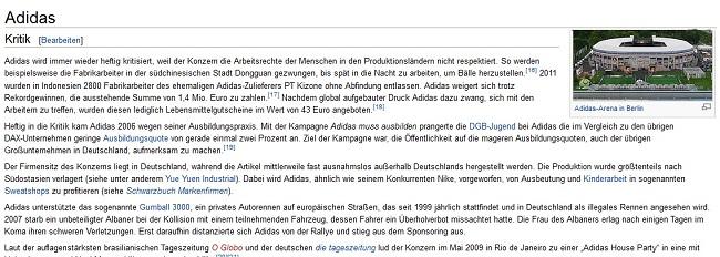 Wikipedia Eintrag von Adidas KRITIK