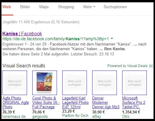 Visual Deals SERP Anzeige