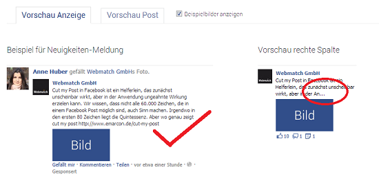 cut my post in facebook