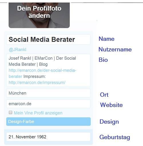 Twitter Profil einrichten