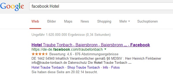 Facebook Bewertungen in Google