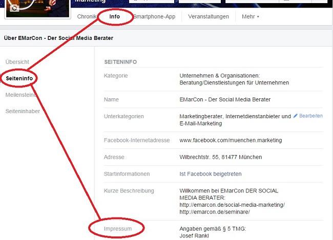 Facebook Impressum für Fanpages