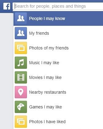 Facebook Suche in der englischen Sprachauswahl