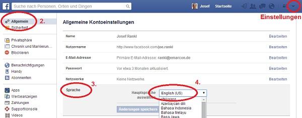Sprache wechseln für Facebook Suche