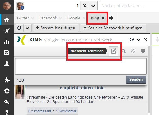Mit Hootsuite in Xing posten