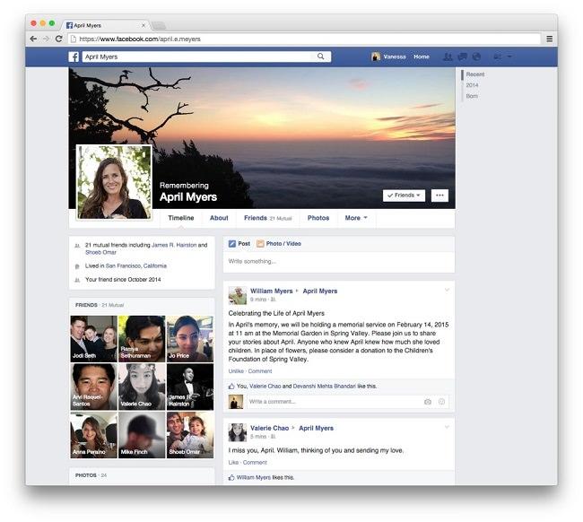 Facebook nach dem Tod, Facebook Gedenkzustand