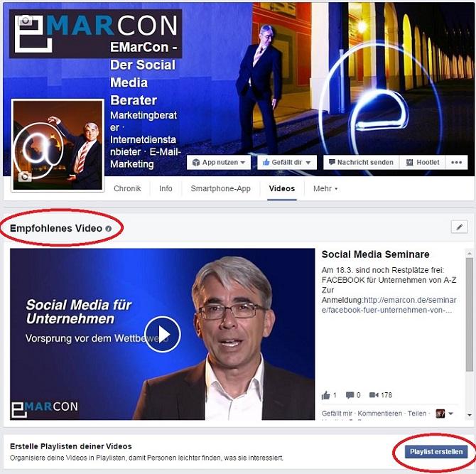 Aktuelle Facebook Features: Empfohlenes Video und Playlist