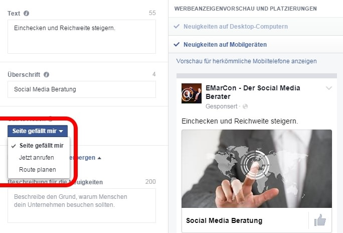 Facebook Local Ads Call-to-Action
