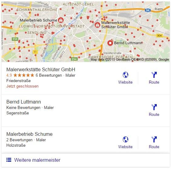 Google lokale Suchanzeige