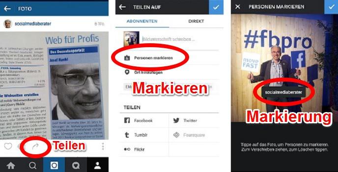 Markieren und Teilen auf Instagram