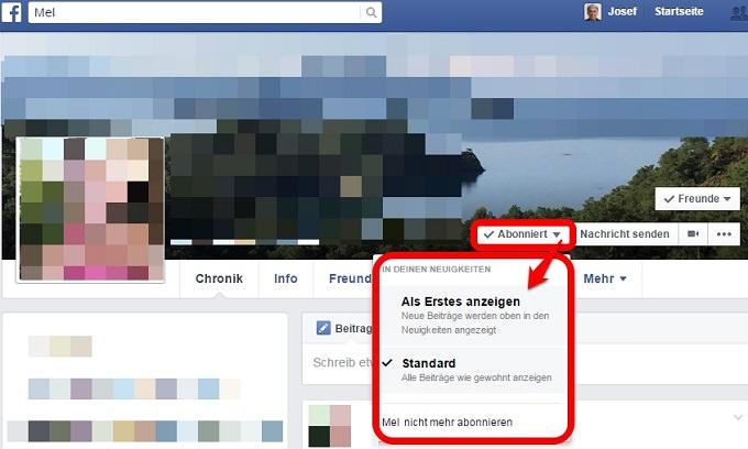 Facebook Neuigkeiten einstellen