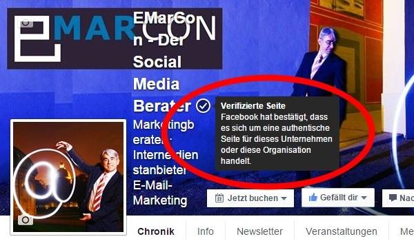 Facebook-Seite bestätigen