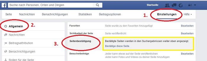 Facebook Seiten Schritt für Schritt bestätigen