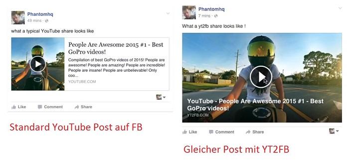 Mit YT2FB Videos von YouTube auf Facebook posten