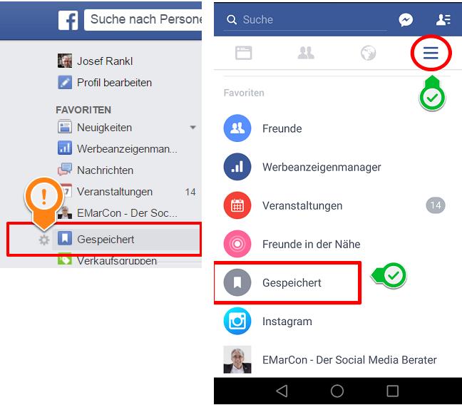 Facebook Bookmarks - Gespeicherte Posts lesen