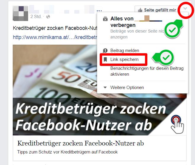 Facebook Bookmarks - Posts speichern