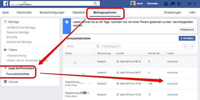 Facebook Lead Ads Daten