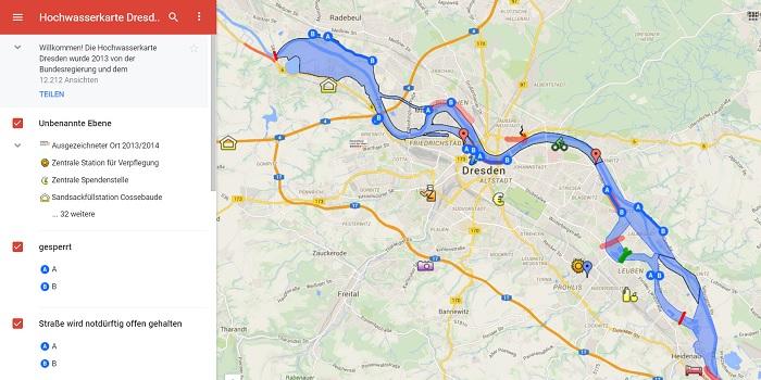 Google Hochwasserkarte von Dresden