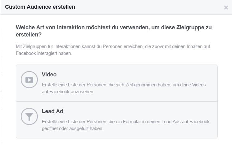 Facebook Custom Audience für Lead Ads und Videos