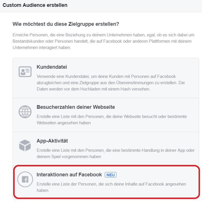 Neue Facebook Custom Audience