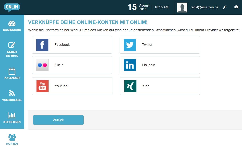 Social Media Tool mit Content Quelle: Onlim