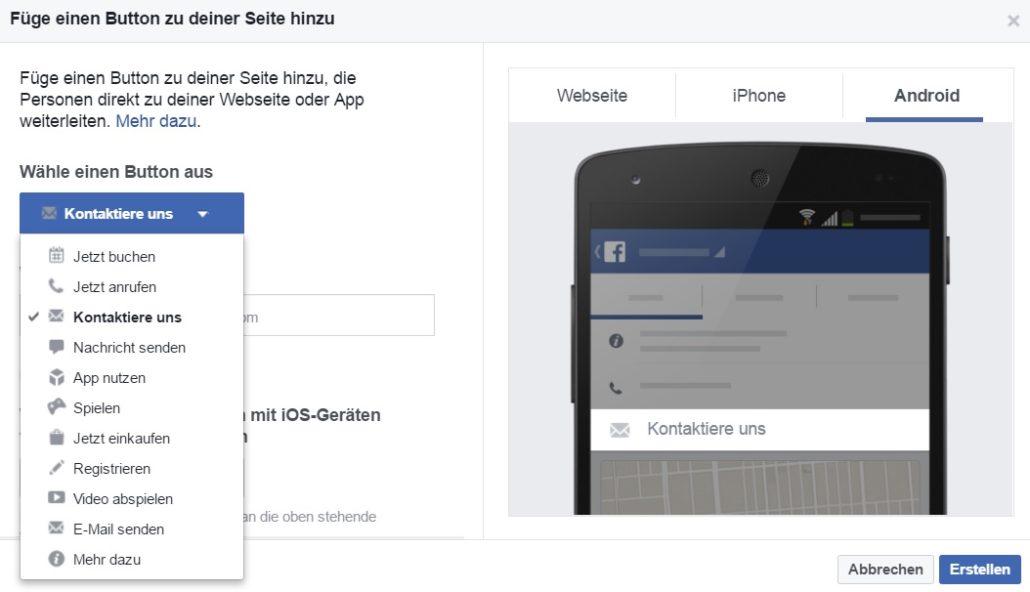Facebook Call-to-Action Button Menp