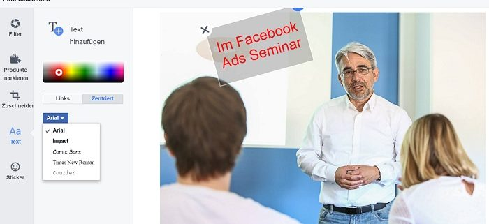 Facebook Fotos direkt bearbeiten  - Text einfügen