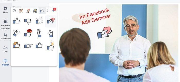 Facebook Foto direkt bearbeiten - Sticker einfügen