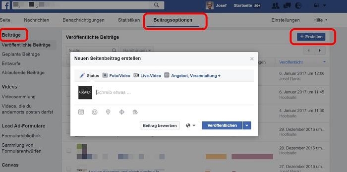 Fehlende Optionen im Facebook Publisher