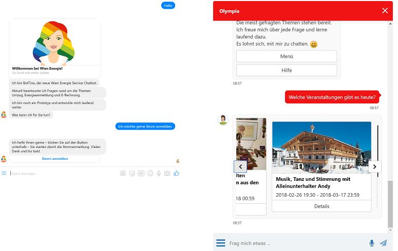 Implementierung eines Chatbots, Beispiele BotTina und Olympia
