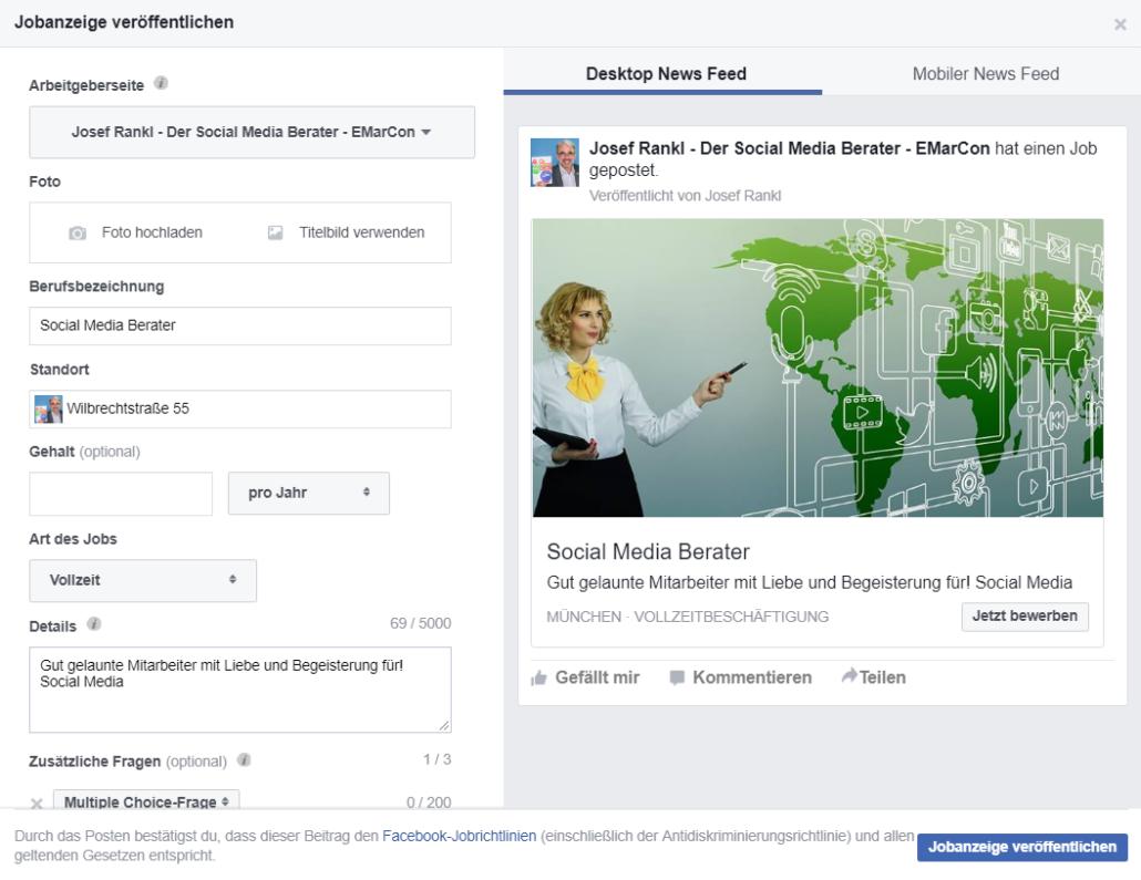 Stellenanzeigen mit Facebook Jobs erstellen