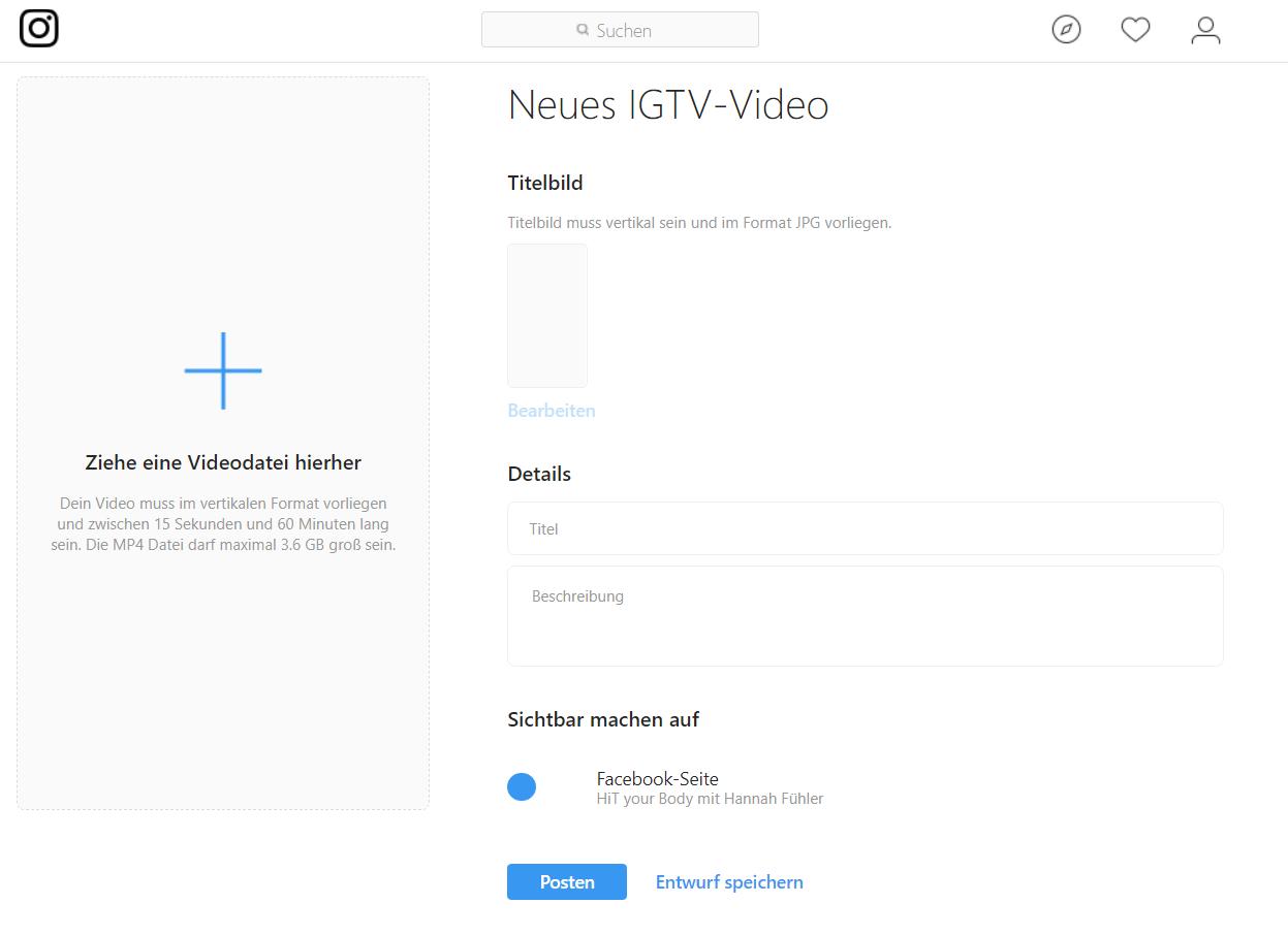 IGTV Video Upload Desktop Details
