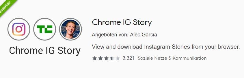 Chrome IG Story Plugin installieren