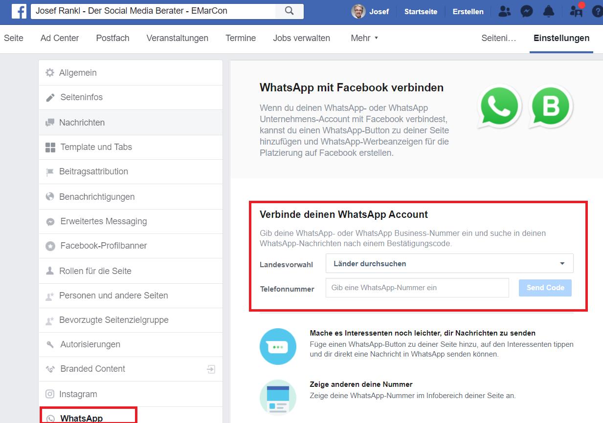 Facebook Fanpage über Einstellungen mit WhatsApp verbinden