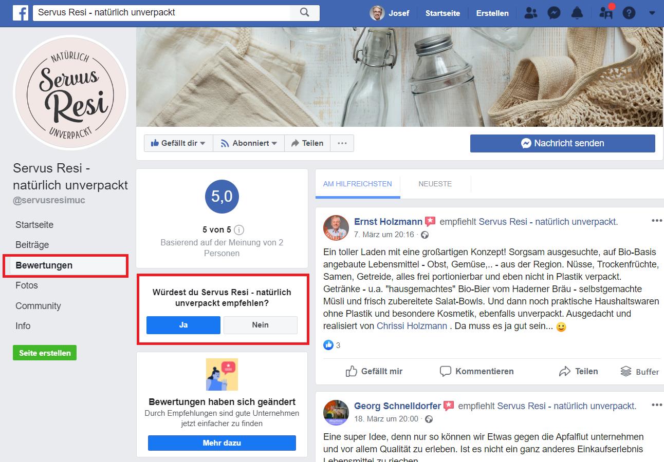 Facebook Bewertungen und Empfehlungennd