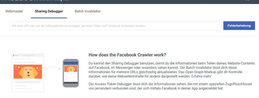 Mit Facebook Debugger Vorschau korrigieren