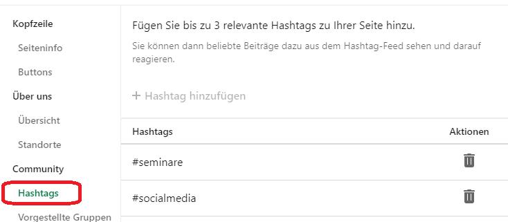 Hashtags auf Linkedin Unternehmensseiten