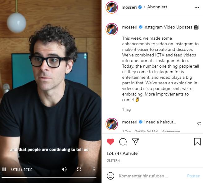 Mosseri über Instagram Videos